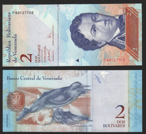 banknote of Venezuela 2 Bolivares in UNC condition