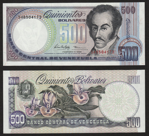 banknote of Venezuela 500 Bolivares in UNC condition