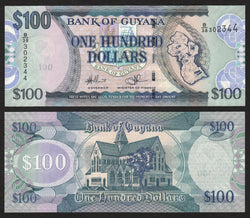 banknote of Guyana  100 Dollars in UNC condition