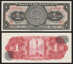 banknote of Mexico 1 Peso in UNC condition