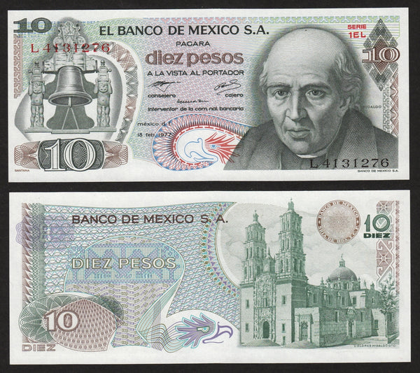 banknote of Mexico 10 Pesos in UNC condition