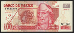 banknote of Mexico 100 Pesos in AU condition