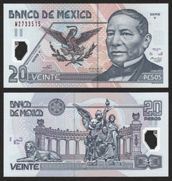 banknote of Mexico 20 Pesos in UNC condition