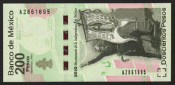 banknote of Mexico 200 Pesos in UNC condition