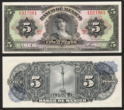 banknote of Mexico 5 Pesos in UNC condition
