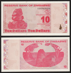 banknote of Zimbabwe 10 Dollars in UNC condition