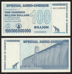 banknote of Zimbabwe 100000000000 Dollars in UNC condition