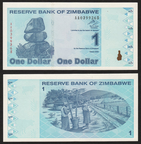 banknote of Zimbabwe 1 Dollar in UNC condition