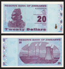 banknote of Zimbabwe 20 Dollars in UNC condition