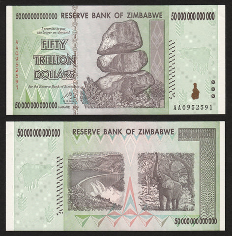 banknote of Zimbabwe 50000000000000 Dollars in AU condition