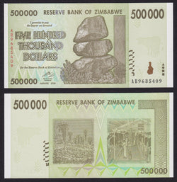 banknote of Zimbabwe 500000 Dollars in UNC condition