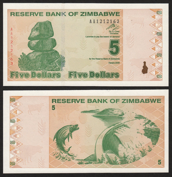 banknote of Zimbabwe 5 Dollars in UNC condition