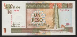 banknote of Cuba 1 Peso Convertibles in AU condition