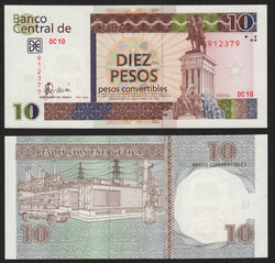 banknote of Cuba 10 Pesos Convertibles in UNC condition