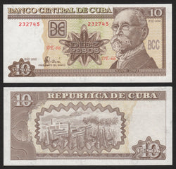 banknote of Cuba 10 Pesos in UNC condition
