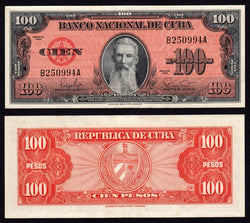 banknote of Cuba 100 Pesos in EF condition