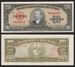 banknote of Cuba 20 Pesos in AU condition