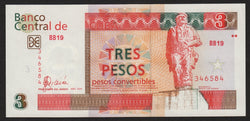 banknote of Cuba 3 Pesos Convertibles in UNC condition