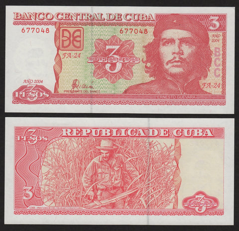 banknote of Cuba 3 Pesos in UNC condition