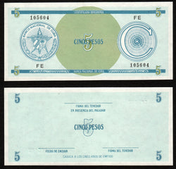 banknote of Cuba 5 Pesos in UNC condition