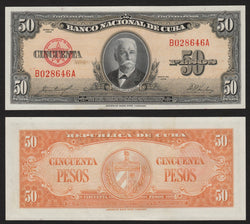 banknote of Cuba 50 Pesos in UNC condition