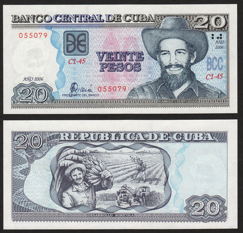 banknote of Cuba 20 Pesos in UNC condition