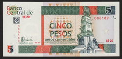 banknote of Cuba 5 Pesos Convertibles in UNC condition