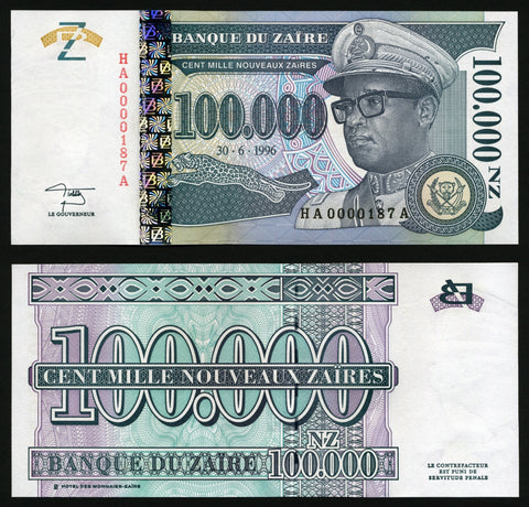 banknote of Zaire 100000 N Zaire in UNC condition