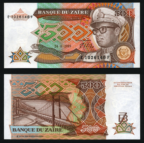 banknote of Zaire 500 Zaires in UNC condition