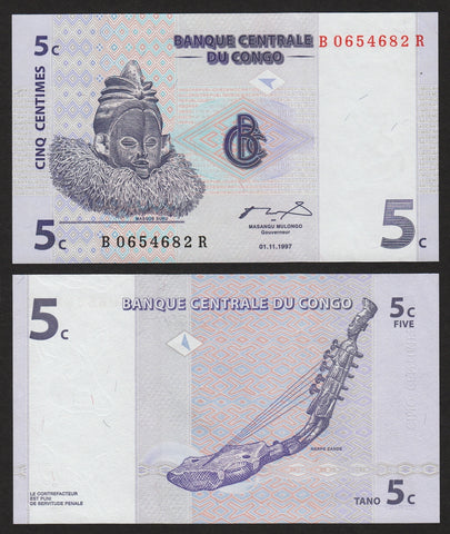 banknote of Congo 5 Centime in UNC condition