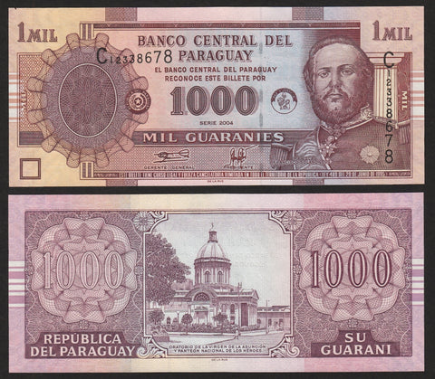 banknote of Paraguay 1000 Guaranies in UNC condition