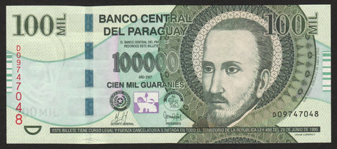 banknote of Paraguay 100000 Guaranies in UNC condition