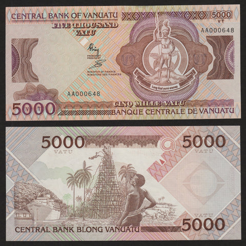 banknote of Vanuatu 5000 Vatu in UNC condition