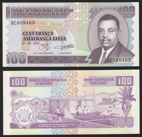 banknote of Burundi 100 Francs in UNC condition