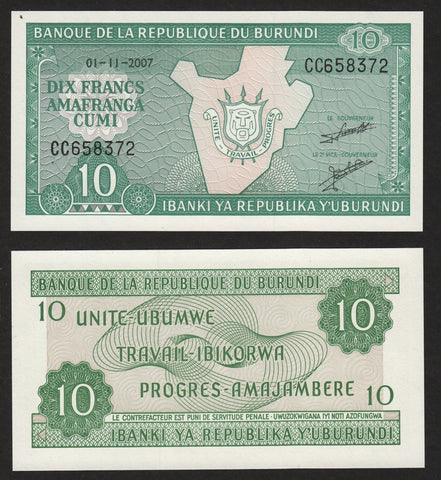 banknote of Burundi 10 Francs in UNC condition