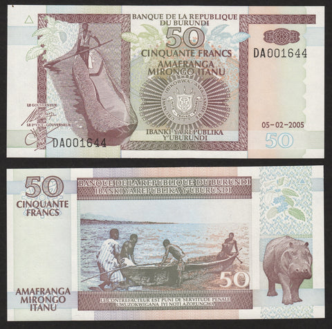 banknote of Burundi 50 Francs in UNC condition