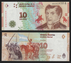 banknote of Argentina 10 Pesos in UNC condition