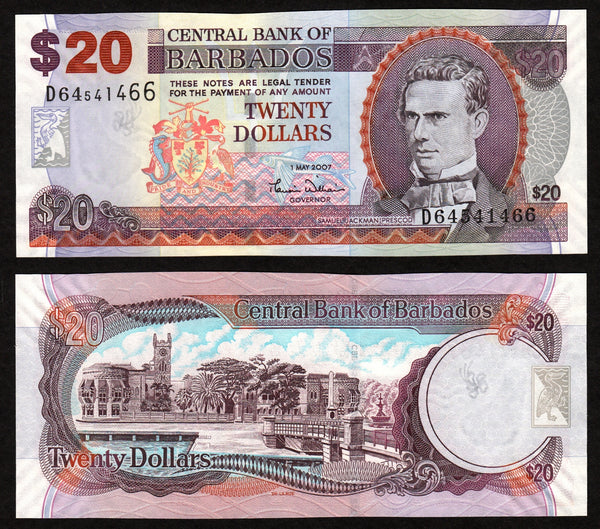 banknote of Barbados 20 Dollars in UNC condition