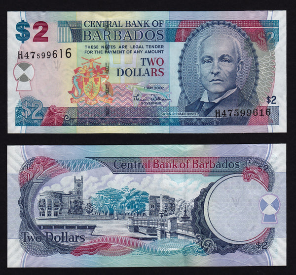 banknote of Barbados 2 Dollars in UNC condition