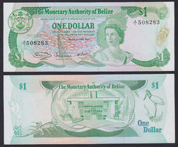 """banknote of  Belize 1 Dollar  in UNC condition"""
