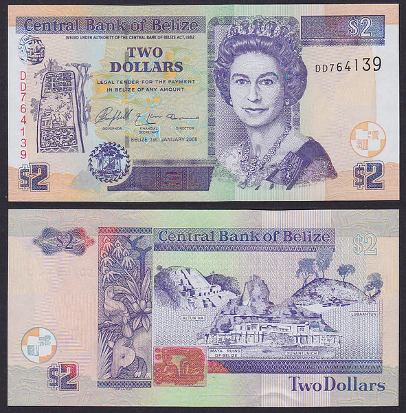 """banknote of  Belize 2 Dollars  in UNC condition"""