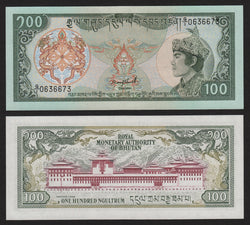 banknote of Bhutan 100 Ngultrum in UNC condition