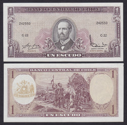 banknote of Chile 1 Escudo in EF condition