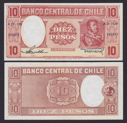 banknote of Chile 10 Pesos in EF condition