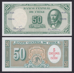 banknote of Chile 5 Centesimos on 50 pesos in UNC condition