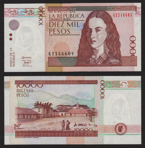 banknote of Colombia 10000 Pesos in UNC condition