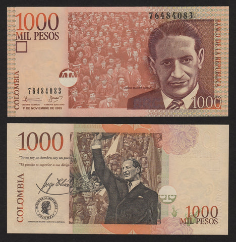 banknote of Colombia 1000 Pesos in UNC condition