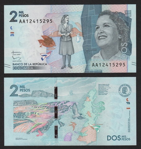 banknote of Colombia 2000 Pesos in UNC condition