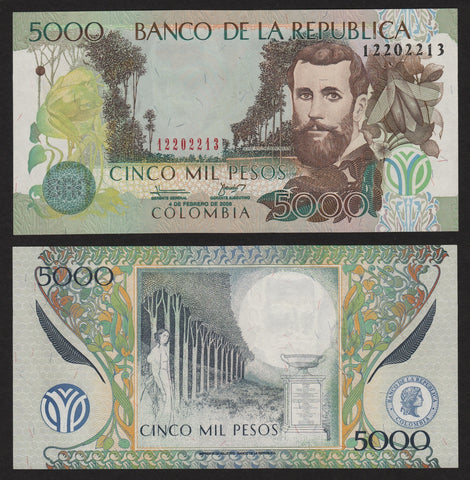 banknote of Colombia 5000 Pesos in UNC condition