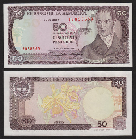 banknote of Colombia 50 Pesos in UNC condition